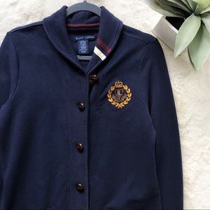 Ralph Lauren Crest Embroidered Grandpa Cardigan